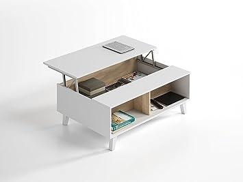 Versand Balearen + Peninsula–Tisch Mitte links weiß und Eiche 100x 38/58x 68cm