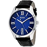 Hugo Boss Men's 42mm Black Leather Band Steel Case Quartz Blue Dial Analog Watch 1513386 (Color: Blue)