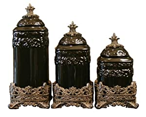 Drake Design 3455 Medium Canister 3 Piece Set Onyx 12 5 10 5 8 5 Inch
