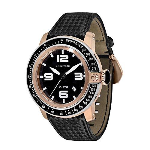 Glam Rock Sobe Tech Homme 50mm Bracelet Tissu Boitier Acier Inoxydable Plaqué Or Quartz Montre GR33010A