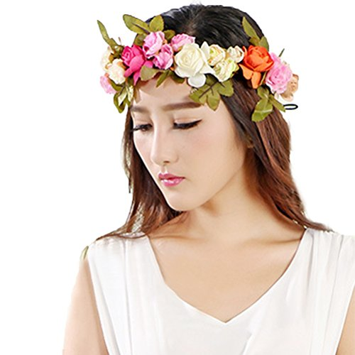 Vivivalue Floral Garland Flower Wreath Crown Headband with Ribbon Boho for Festival Wedding Multicoloured