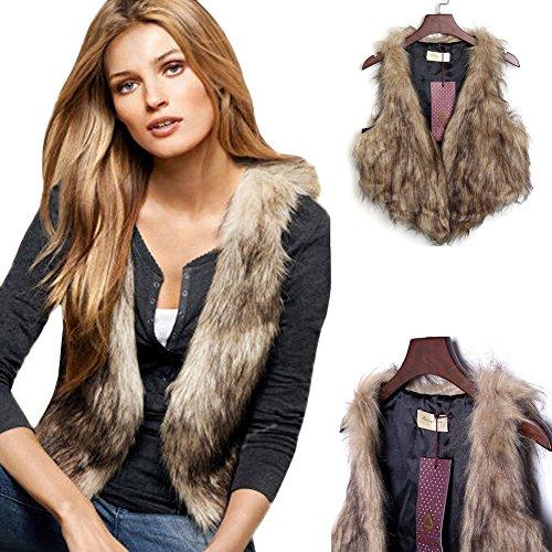 Merryfun Women's Artificial Fur Fleece Fashion Outwear Vests with Hook (L), Brown Faux Fur Vest