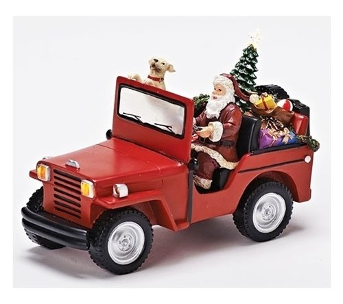 Santa in Jeep - Lighted & Musical Decoration