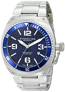 Stuhrling Original Men's 410.33116 Aquadiver Marine Diamond Analog Display Sw...