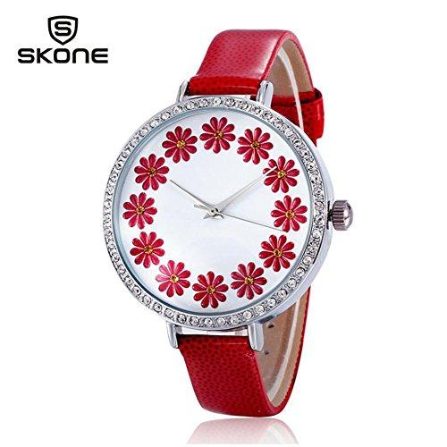 Hot Selling Leather Geneva Rose Flower Watch Luxury Brand Solid Analog Rhinestone Watch Women (Red)