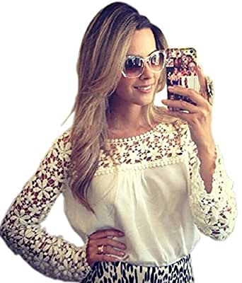 Monday White Floral Croche Lace Long Sleeve Chiffon Blouse: Clothing