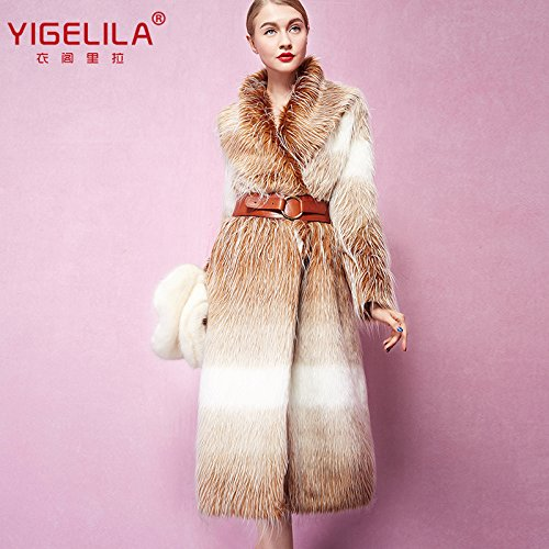 Fashion Women Long Gradient Color Fox Fur Coat Long Sleeve 5