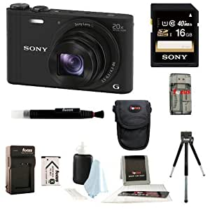 Sony DSC-WX350/B DSCWX350 WX350 18 MP Digital Camera (Black) + Sony 16GB SDHC/SDXC Memory Card + Camera Case + Accessory Kit