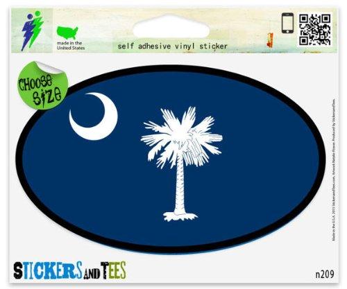 South Carolina State Flag Oval SC Vinyl Car Bumper Window Sticker 5