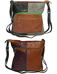 NAZ Women Multi-coloured Leather Sling Bag - B01IHRCVWM