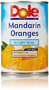 Dole Mandarin Oranges, Whole Segments In Light Syrup, 15 Oz