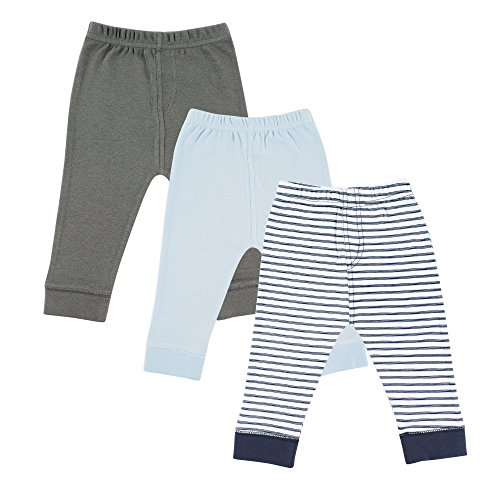 Luvable Friends 3-Pack Tapered Ankle Pants, Blue & Gray, 0-3 Months