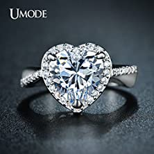 buy Master Jiwelry Umode Classic Halo Engagement Rings 4Ct Heart-Shaped Center Stone Cz Diamond For Women White Gold Plated Jewelry Ur0223