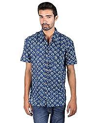 Rajrang Mens Cotton Shirt -Indigo -Large