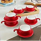 Famacart Tableware Serving Red Coffee -Tea Cups Saucer Set 12 Pcs