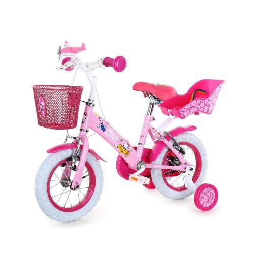 Hello Kitty Kinderfahrrad 12 Zoll Kinderrad mit Stützräder Korb und Puppensitz (Kettenschutz,abnehmbare Lenkertasche, Sattel höhenverstellbar) weiß rosa)