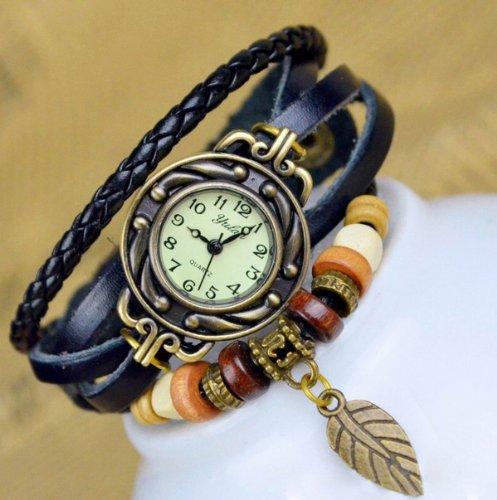 chinkyboo Black Retro Weave Wrap Around Leather Bracelet Lady Wrist Watch Quartz Watch