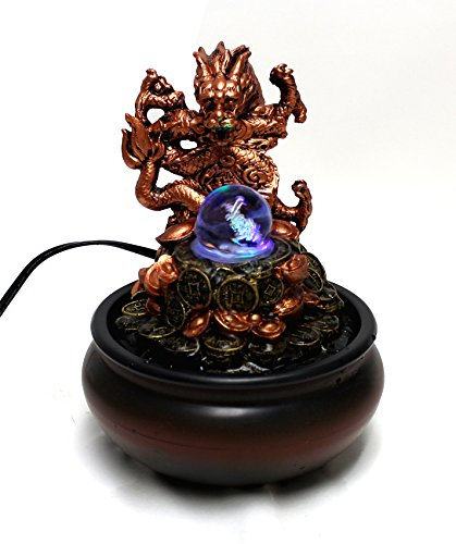 Dragon With Glass Ball Tabletop Water Fountain