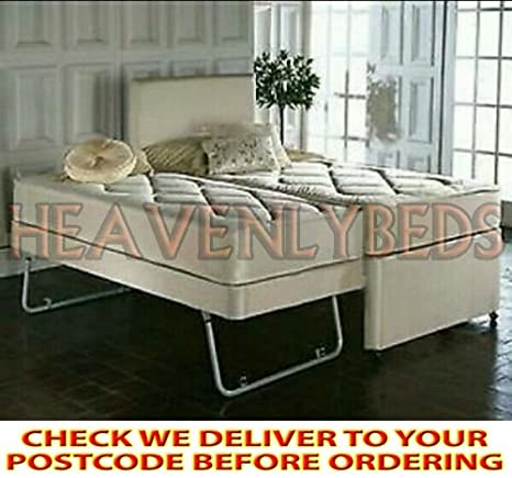 HEAVENLYBEDS @ SINGLE GUEST BED 3 IN 1 WITH UNDER BED PULL OUT BED WITH 2 MATTRESSES HEADBOARD DEEP QUILTED MATTRESS (Cream)