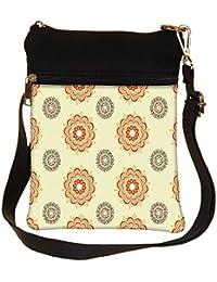 Snoogg Multiple Design Cream Pattern Cross Body Tote Bag / Shoulder Sling Carry Bag