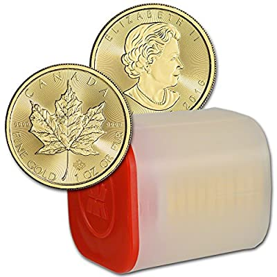 CA 2016 Canada Gold Maple Leaf (1 oz) TEN (10) 1 Roll in Mint Tube Brilliant Uncirculated