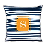 Dabney Lee Block Island Square pillow with Single Initial, O, Multicolored