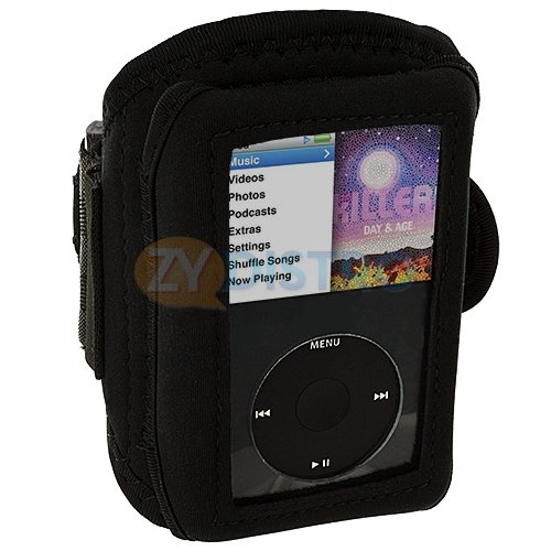 Mylife (Tm) Classic Black Velcro Strap (Light Weight Neoprene + Secure Running Armband) For Apple Ipod Classic 1St, 2Nd, 3Rd, 4Th, 5Th, 6Th And 7Th Generation (30Gb/60Gb/80Gb/120Gb/160Gb) (Universal One Size Fits All + Velcro Secured + Adjustable Length +