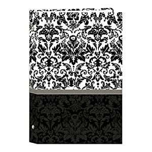 """Pioneer Classic 3 Ring Photo Album with Designer Color Covers, Holds 300 4x6"""" Photos, 3 Per Page, Color: Black & White Damask."""