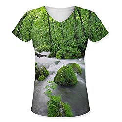 Snoogg White Water Womens Casual V-Neck All Over Printed T Shirts Tees