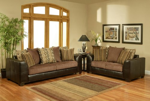 Buy Low Price Benchley 2pc Sofa Loveseat Set with Leather Frame and Chocolate Cushion Seat (VF_BCL-DELPHI)