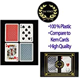 Da Vinci Neve, Italian 100% Plastic Playing Cards, 2-Deck Poker Size Set by Modiano, Regular Index