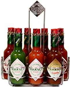 Tabasco Chrome Caddy With 7 Family Flavors by Tabasco