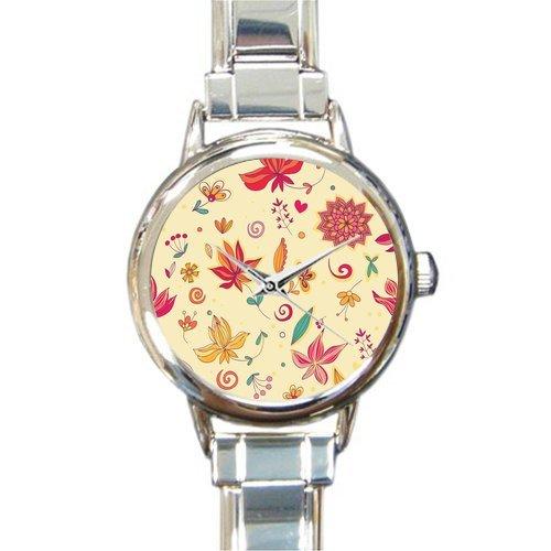 Paisley Pattern Round Italian Charm Watch