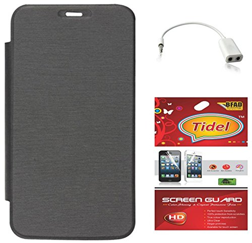Tidel Black Premium Flip Cover For Micromax Bolt A71 With Tidel Screen Guard & Audio Spliter  available at amazon for Rs.249