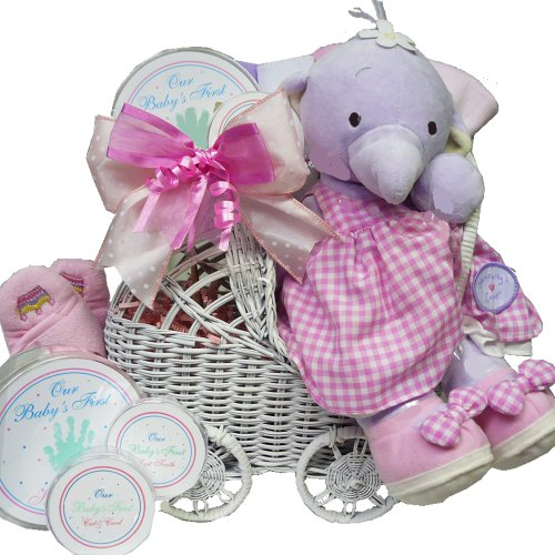 Babies First Carriage Gift Basket in Baby Girl