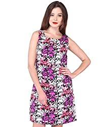 Purys Women's Shift Dress (E-150650SP-2800_White Purple Black_L)