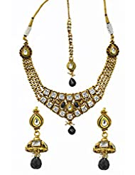 Jewelfin Glossy Black Beads Studded Imperial Kundan Necklace Set For Women