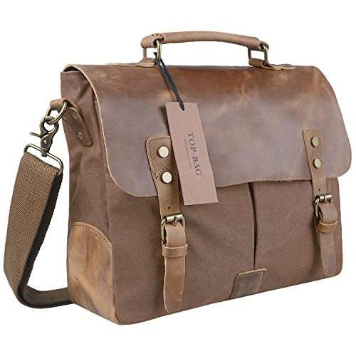 Sanlise Retro Designer mens canvas leather satchel