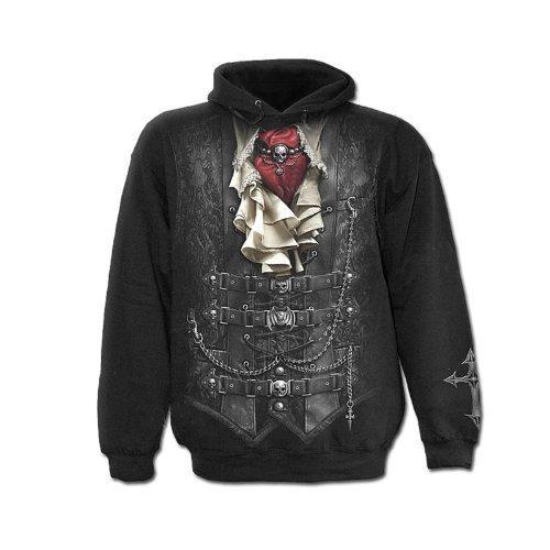 Spiral Direct Mens Waisted Sweatshirt Hood Top Black M 38