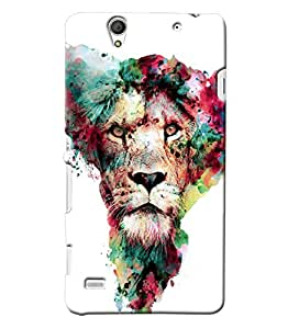Blue Throat Lion In Colors Hard Plastic Printed Back Cover/Case For Sony Xperia C4