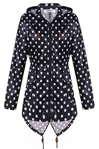 Meaneor Women's Waterproof Raincoat Outdoor Hooded Rain Jacket Polka Dot_Black and White L (Women Raincoat With Hood compare prices)