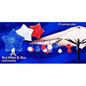 Click to buy Umbrella Lights - 35 Patriotic Red, White, Blue Stars String Lights from Amazon!