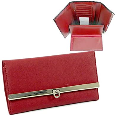 HPW Handbags Plain leather like fold over flap w/ flip clasp checkbook wallet Red 2