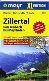 Zillertal XL - Von Jenbach bis Mayrhofen: Wander-, Rad- und Mountainbikekarte. GPS-genau. 1:25000
