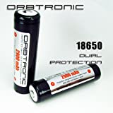 Orbtronic Two 18650 Protected 2900mAh Li-ion Rechargeable Batteries Button Top with PCB - NEW Dual Protection Version Panasonic 2900mAh cell inside