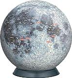 3D球体パズル 540ピース 月球儀 【光るパズル】 2054-211 (直径約22.9cm)