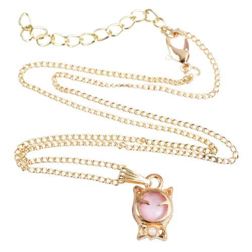 niceeshop(TM) Modern Süß Opal Perle Katze Form Glückliche Katze Halskette-Rosa