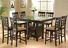 9pc Espresso Counter Height Storage Dining Table w/ Glass Center & Chair Set 100438