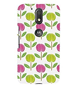 ANIMATED DUAL COLOURS FLOWERS PATTERN 3D Hard Polycarbonate Designer Back Case Cover for Motorola Moto G4 Play