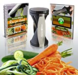 Premium Spiralizer eBundle - Vegetable Spiral Slicer - BONUS Recipe eBook & Beginners Tips eVideo included - Perfect For Low Carb, Raw Food, Gluten Free and Paleo Diets - As Seen On TV!
